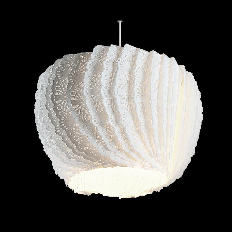 Paper napkin lampshade designed by Daria Burlińska