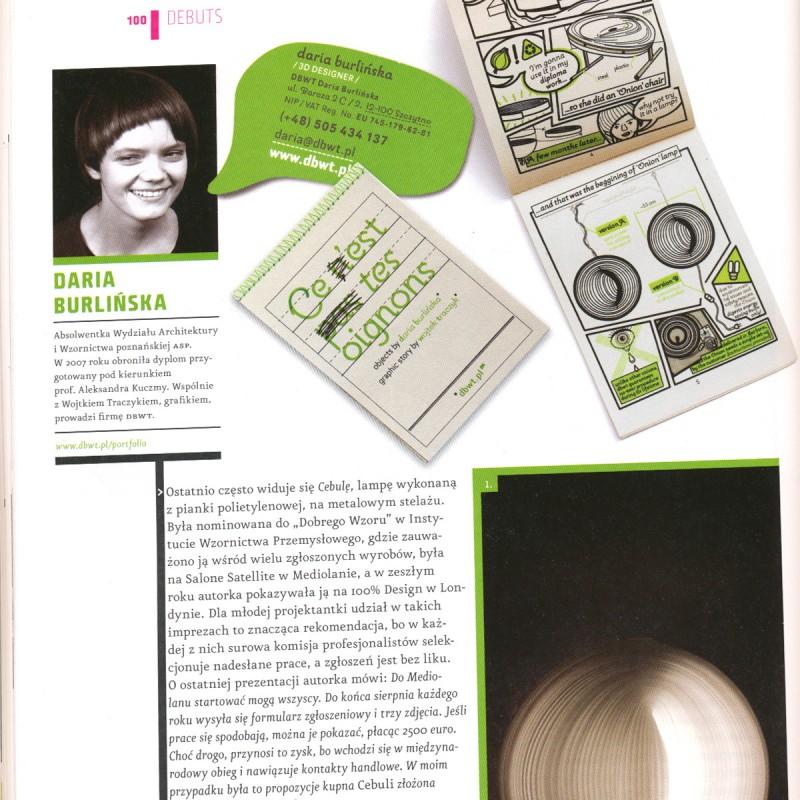 Daria Burlińska – publikacja w kwartalniku «2Plus3D», 3/2009