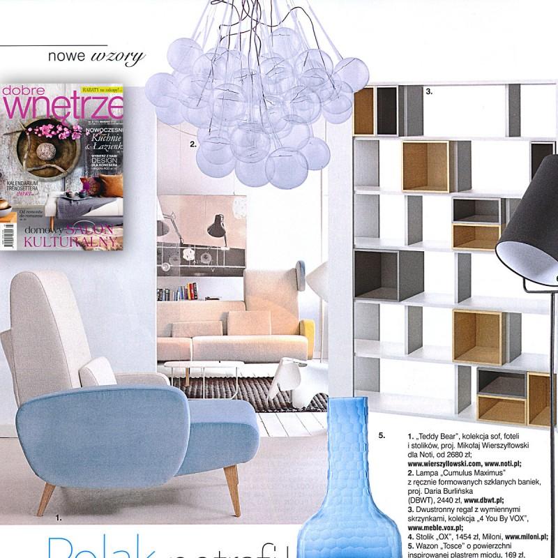 DBWT.PL – lampa «Cumulus Maximus» – publikacja w miesięczniku Dobre Wnętrze, 03/2013