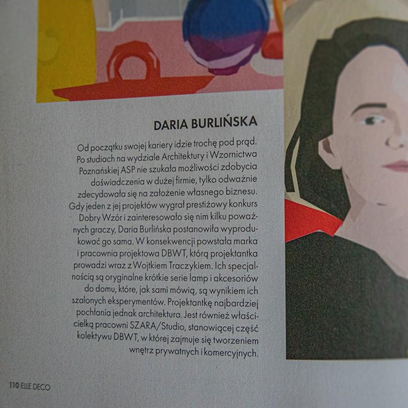 Daria Burlińska, DBWT.PL and SZARA-STUDIO.PL founder, on the pages of «Elle Decoration», 11-12/2020